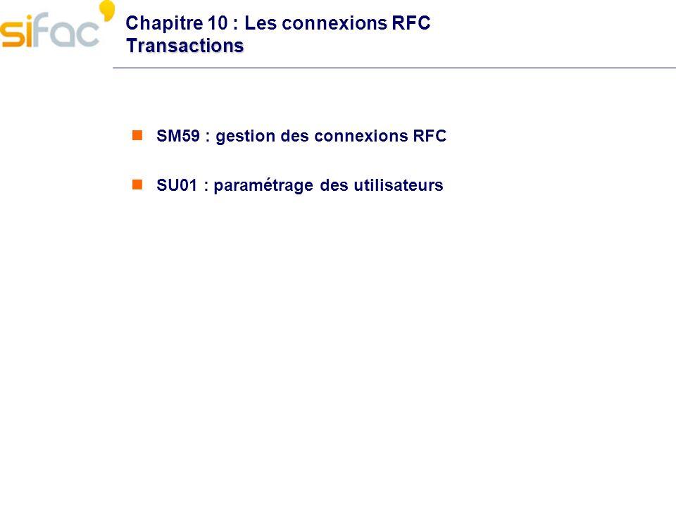 Transactions Chapitre 10 : Les connexions RFC Transactions SM59 : gestion des connexions RFC SU01 : paramétrage des utilisateurs