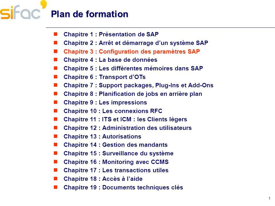 2 Chapitre 3 : Configuration des paramètres SAP Configuration des paramètres SAP Les fichiers de profils se trouvent sous : /usr/sap/ /SYS/profile (alias cdpro) Système SAP possède 3 fichiers profils : - le profil de démarrage - le profil DEFAULT - le profil dinstance