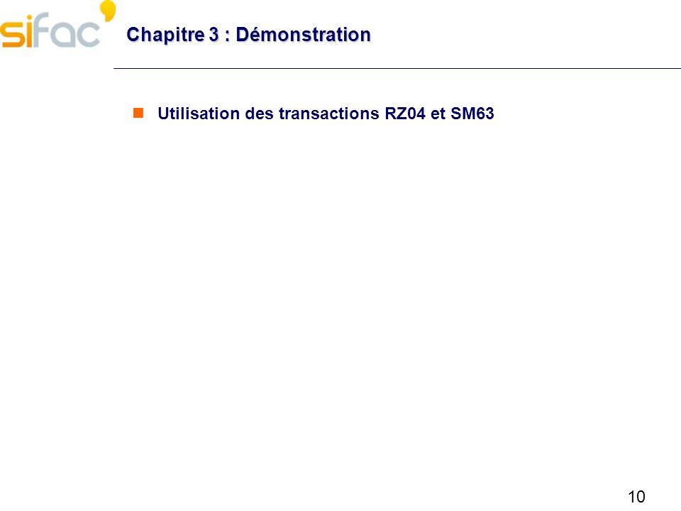 11 Chapitre 3 : Configuration des paramètres SAP Transactions utiles Transactions RZ10 : Administration des profils RZ11 : Visualisation des valeurs des paramètres RZ04 : Gestion des modes dexploitation et instances SM63 : Table des temps SE38/SA38 : Exécution de reports Reports RSPFPAR : Visualisation des valeurs des paramètres