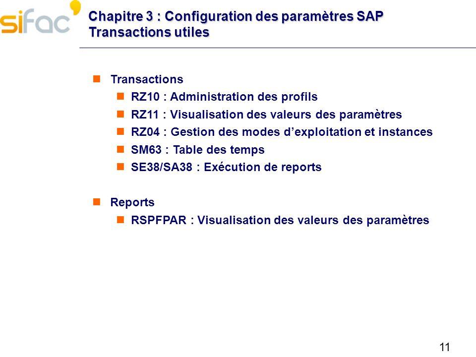 11 Chapitre 3 : Configuration des paramètres SAP Transactions utiles Transactions RZ10 : Administration des profils RZ11 : Visualisation des valeurs d