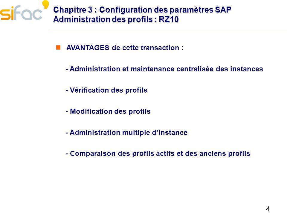 5 Chapitre 3 : Configuration des paramètres SAP Administration des profils : RZ10 Après installation : les profils dinstance doivent être importés (1) Ensuite, ils sont contrôlés (2) Puis sauvegardés dans la base de données (3) Activer au niveau SAP (4)