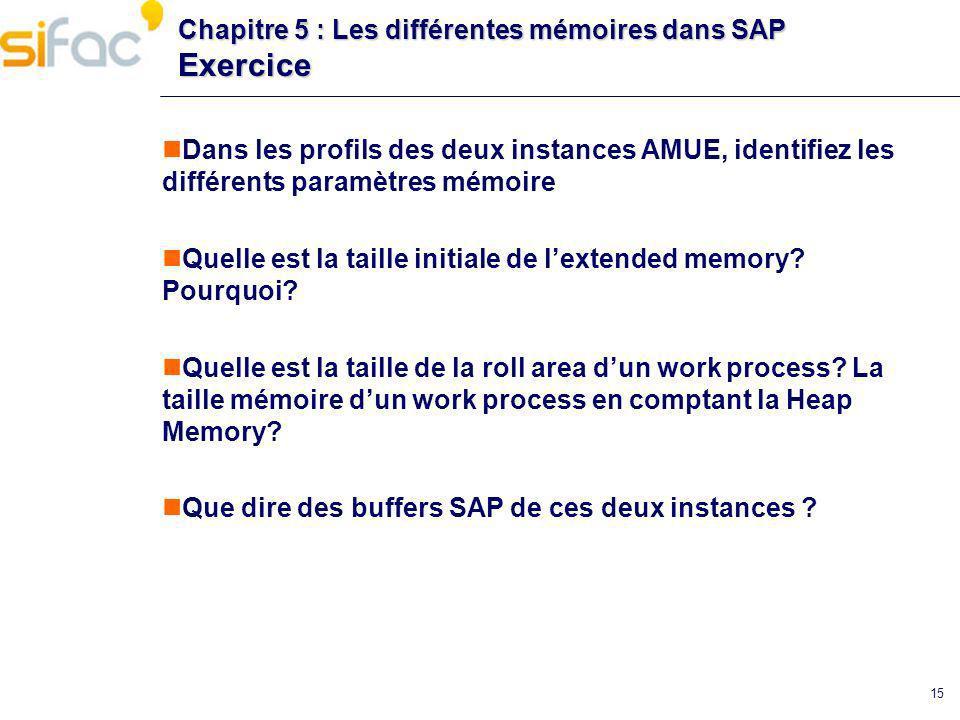 15 Chapitre 5 : Les différentes mémoires dans SAP Exercice Dans les profils des deux instances AMUE, identifiez les différents paramètres mémoire Quel