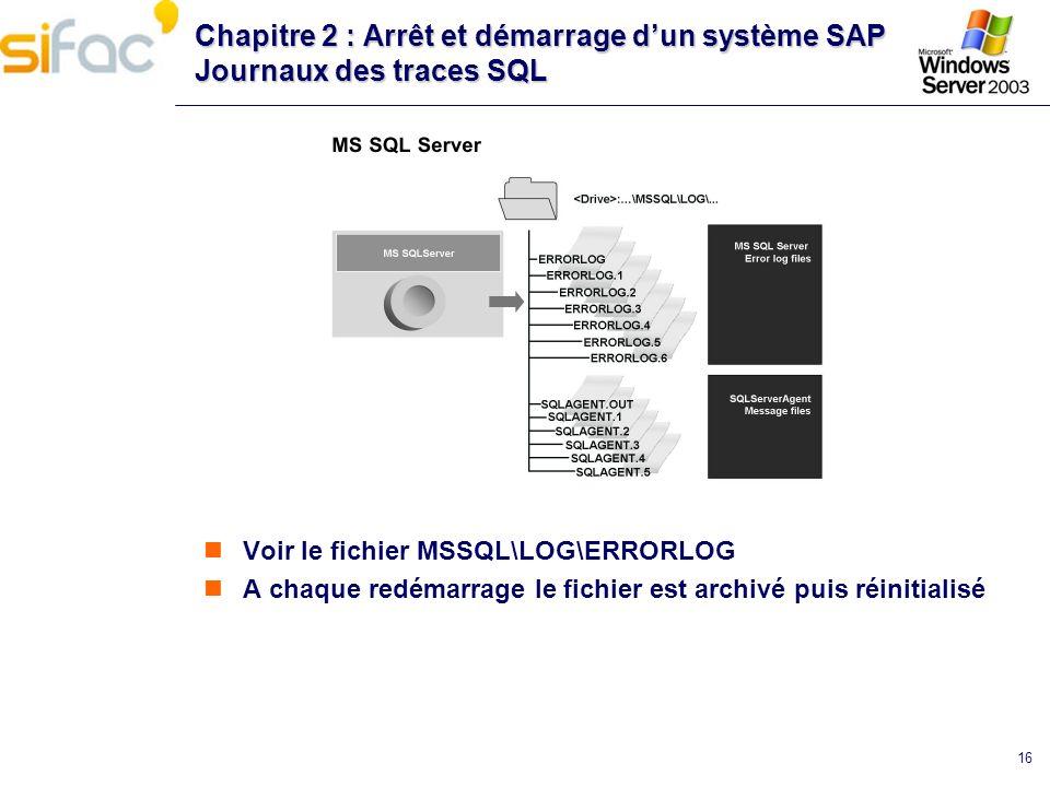 16 Chapitre 2 : Arrêt et démarrage dun système SAP Journaux des traces SQL Voir le fichier MSSQL\LOG\ERRORLOG A chaque redémarrage le fichier est arch