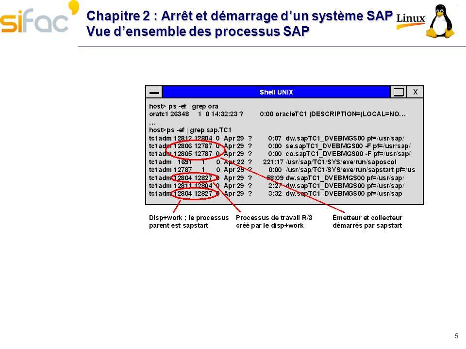 5 Chapitre 2 : Arrêt et démarrage dun système SAP Vue densemble des processus SAP