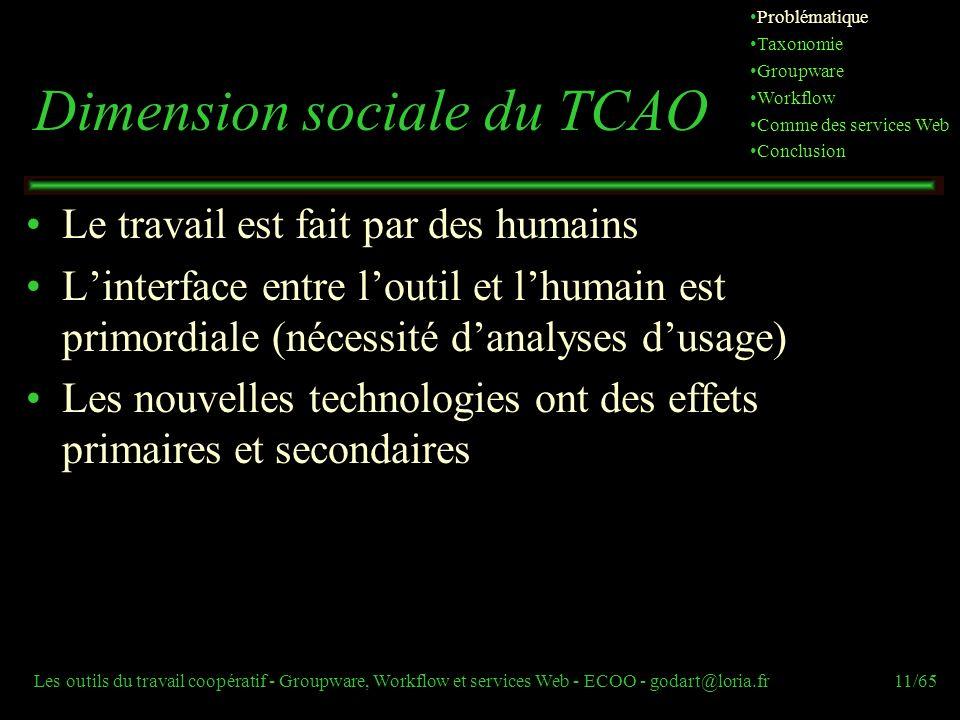 Les outils du travail coopératif - Groupware, Workflow et services Web - ECOO - godart@loria.fr11/65 Dimension sociale du TCAO Le travail est fait par