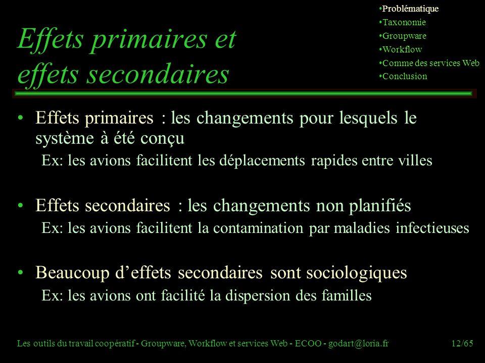 Les outils du travail coopératif - Groupware, Workflow et services Web - ECOO - godart@loria.fr12/65 Effets primaires et effets secondaires Effets pri