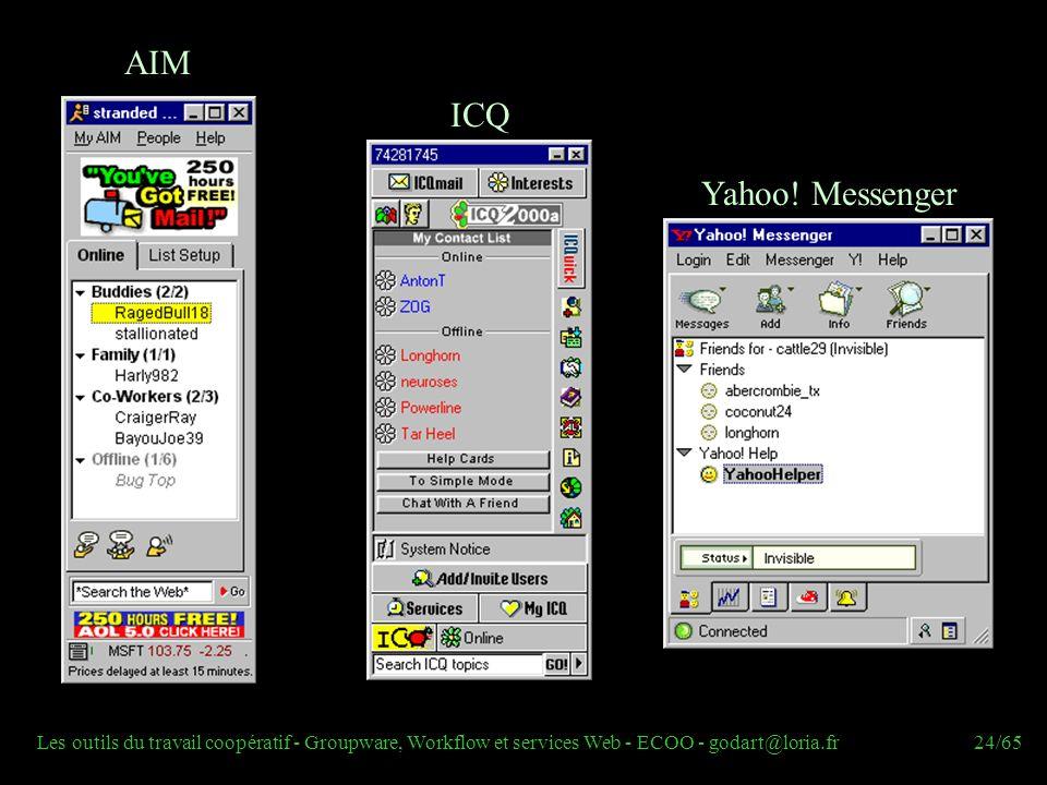 Les outils du travail coopératif - Groupware, Workflow et services Web - ECOO - godart@loria.fr24/65 AIM ICQ Yahoo! Messenger