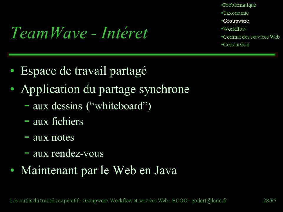 Les outils du travail coopératif - Groupware, Workflow et services Web - ECOO - godart@loria.fr28/65 TeamWave - Intéret Espace de travail partagé Appl