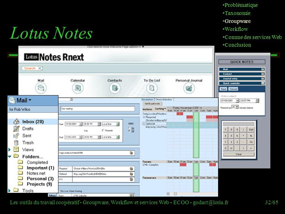 Les outils du travail coopératif - Groupware, Workflow et services Web - ECOO - godart@loria.fr32/65 Lotus Notes Problématique Taxonomie Groupware Wor