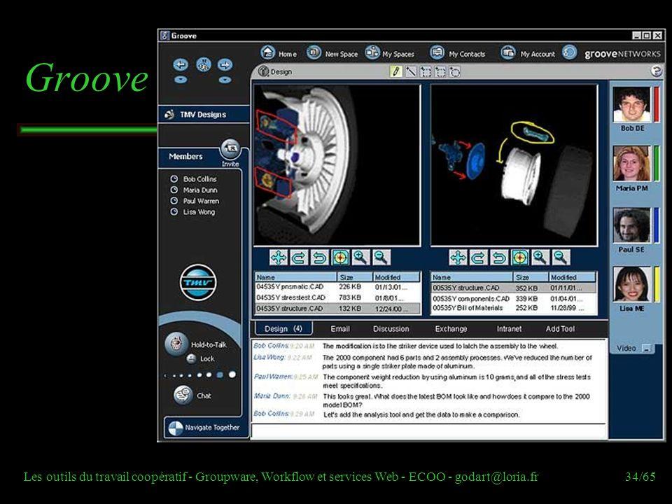 Les outils du travail coopératif - Groupware, Workflow et services Web - ECOO - godart@loria.fr34/65 Groove