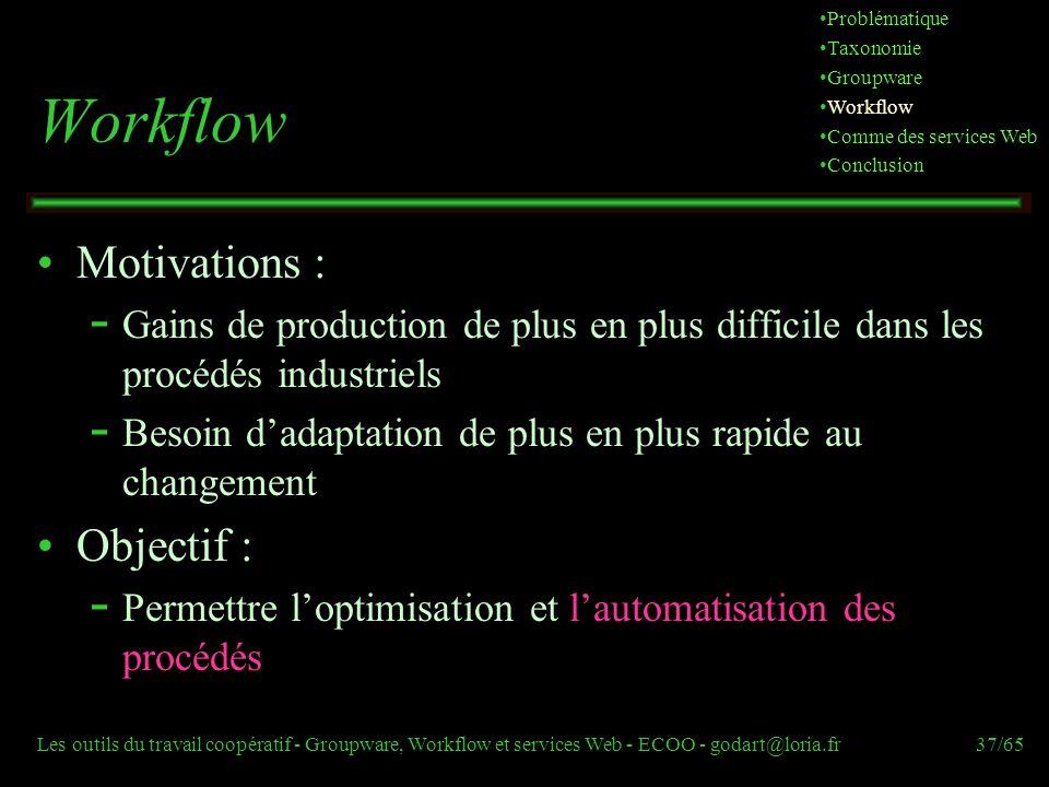 Les outils du travail coopératif - Groupware, Workflow et services Web - ECOO - godart@loria.fr37/65 Workflow Motivations :  Gains de production de p