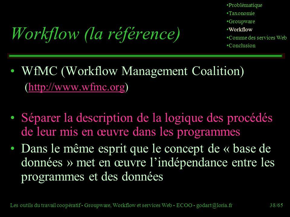 Les outils du travail coopératif - Groupware, Workflow et services Web - ECOO - godart@loria.fr38/65 Workflow (la référence) WfMC (Workflow Management