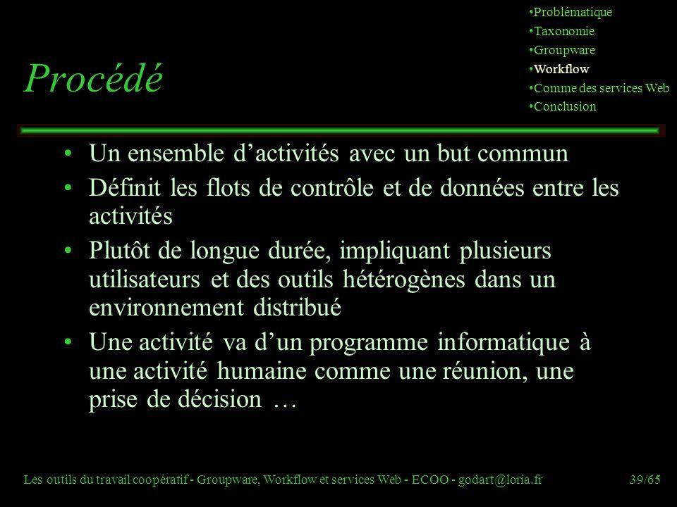 Les outils du travail coopératif - Groupware, Workflow et services Web - ECOO - godart@loria.fr39/65 Procédé Un ensemble dactivités avec un but commun