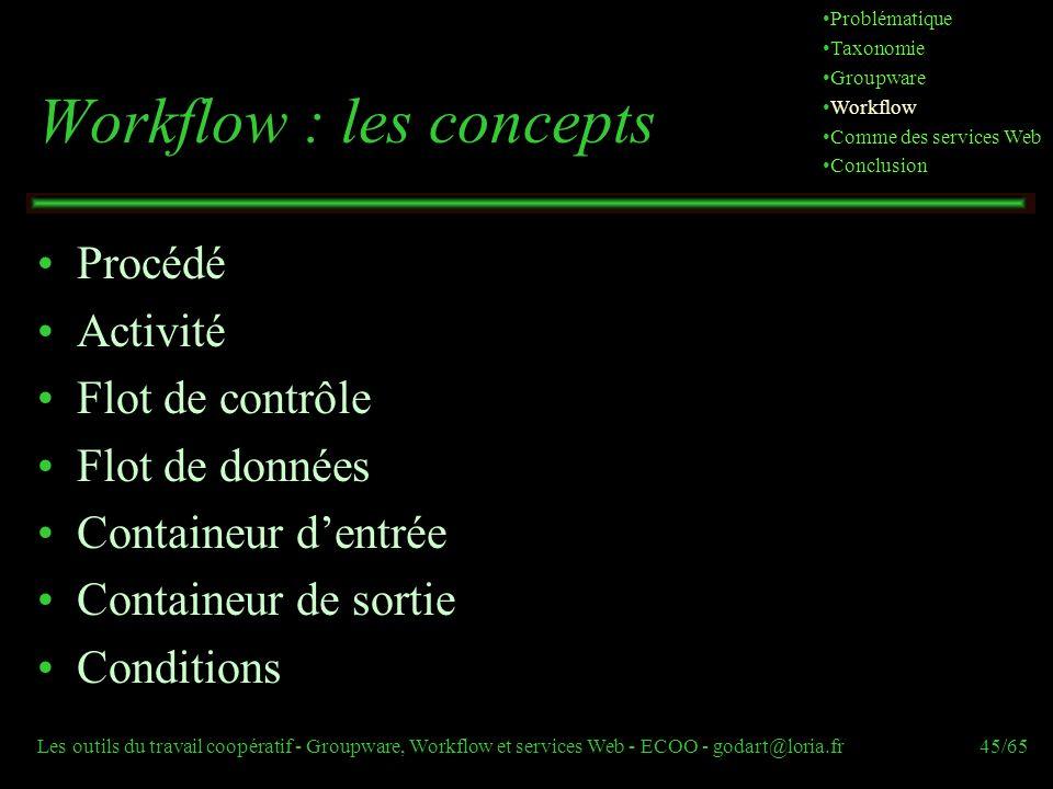Les outils du travail coopératif - Groupware, Workflow et services Web - ECOO - godart@loria.fr45/65 Workflow : les concepts Procédé Activité Flot de