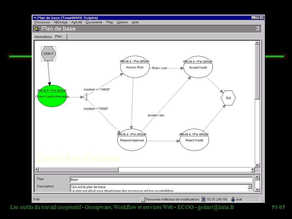 Les outils du travail coopératif - Groupware, Workflow et services Web - ECOO - godart@loria.fr50/65 Control flow of activities