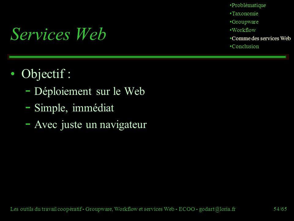 Les outils du travail coopératif - Groupware, Workflow et services Web - ECOO - godart@loria.fr54/65 Services Web Objectif :  Déploiement sur le Web