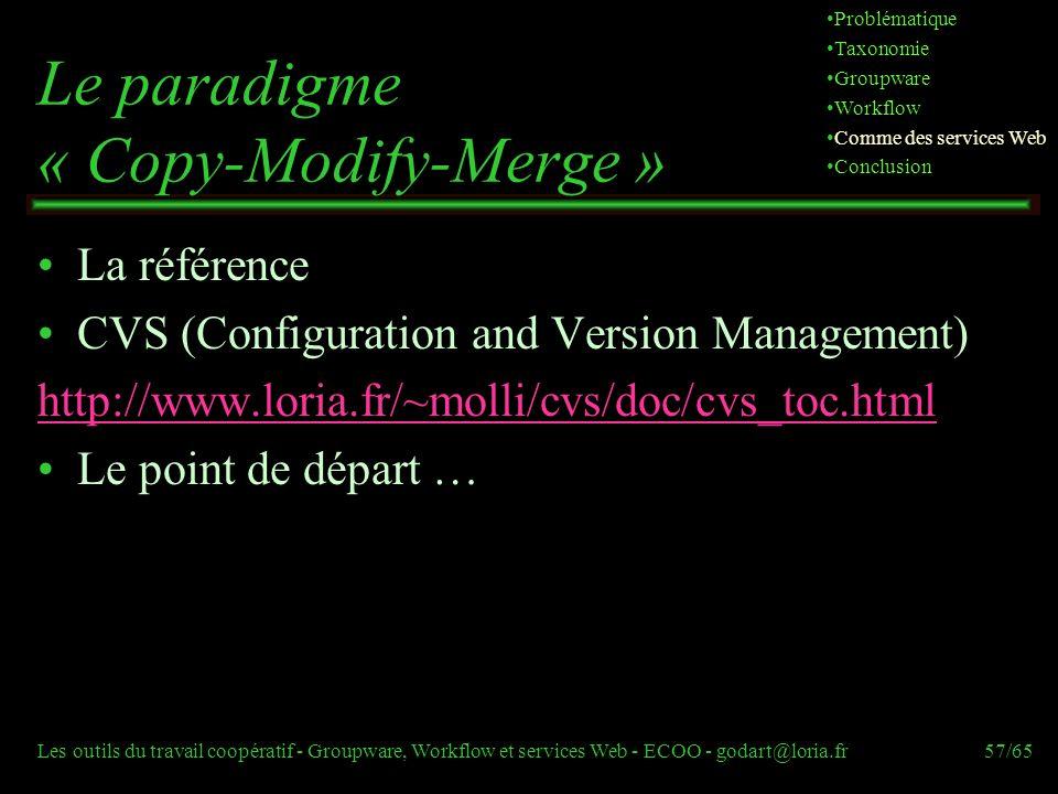 Les outils du travail coopératif - Groupware, Workflow et services Web - ECOO - godart@loria.fr57/65 Le paradigme « Copy-Modify-Merge » La référence C