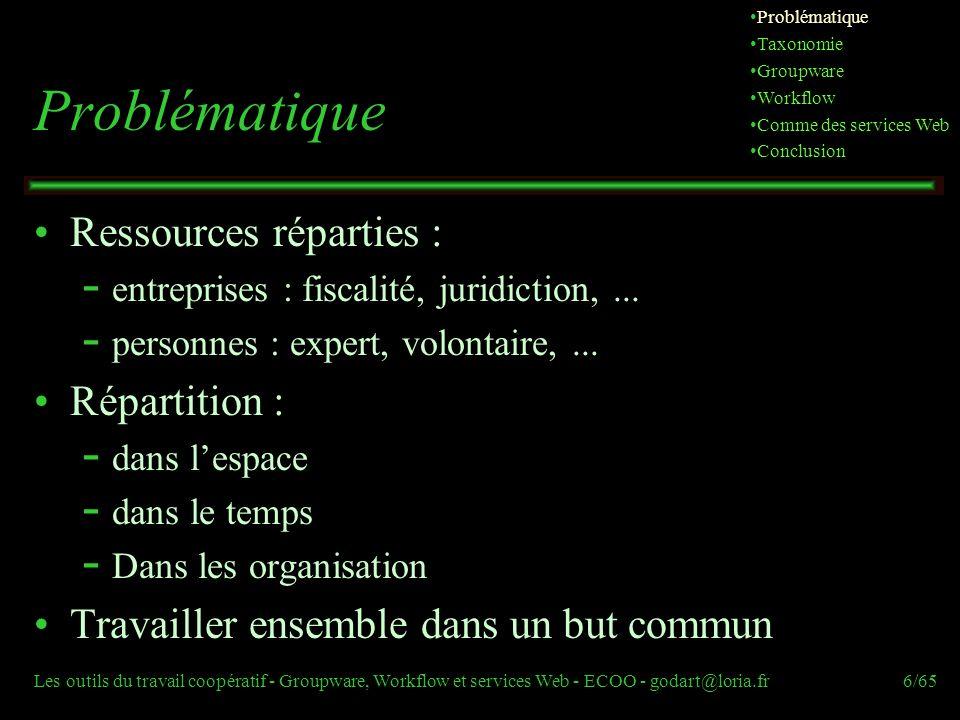 Les outils du travail coopératif - Groupware, Workflow et services Web - ECOO - godart@loria.fr6/65 Problématique Ressources réparties :  entreprises