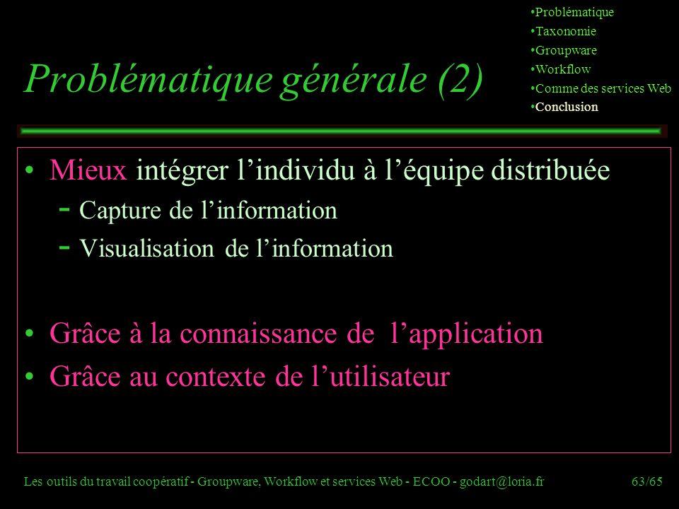 Les outils du travail coopératif - Groupware, Workflow et services Web - ECOO - godart@loria.fr63/65 Mieux intégrer lindividu à léquipe distribuée  C