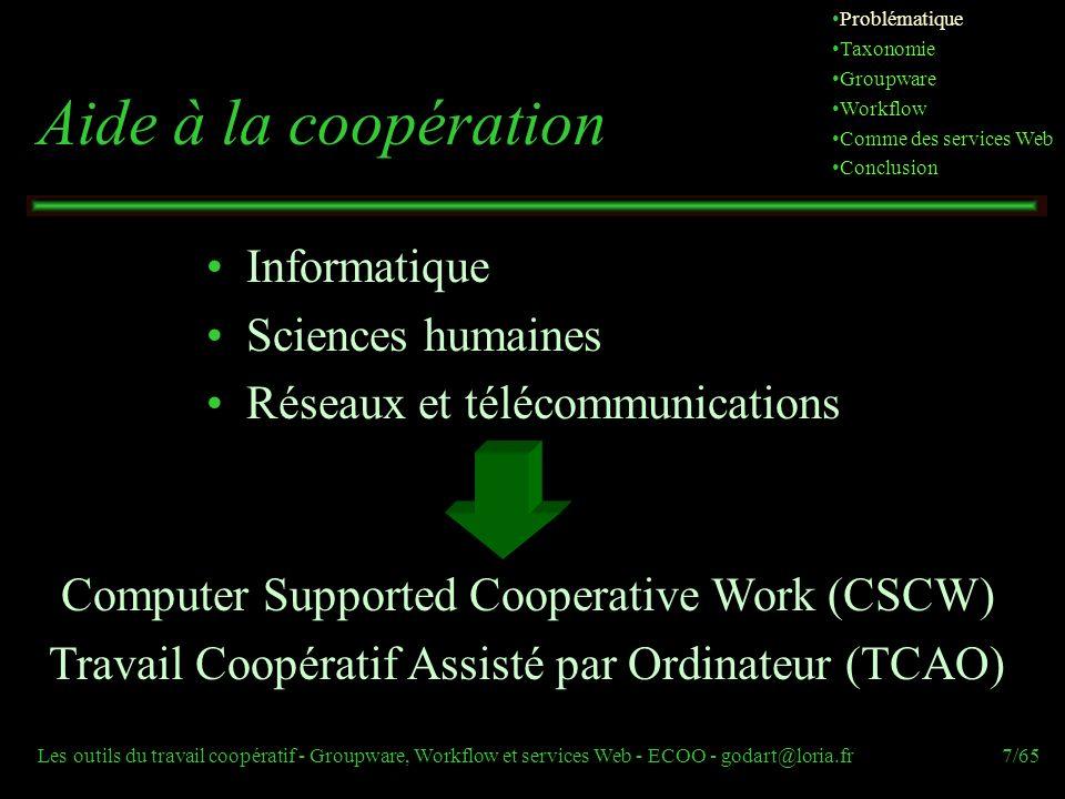 Les outils du travail coopératif - Groupware, Workflow et services Web - ECOO - godart@loria.fr7/65 Aide à la coopération Informatique Sciences humain