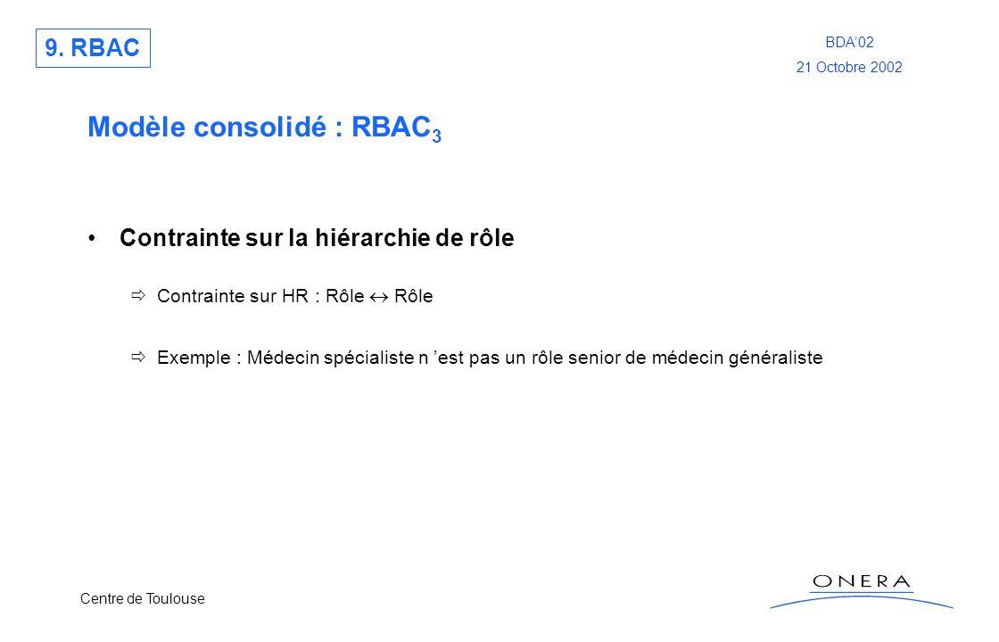 Centre de Toulouse BDA02 21 Octobre 2002 Modèle consolidé : RBAC 3 Contrainte sur la hiérarchie de rôle Contrainte sur HR : Rôle Rôle Exemple : Médeci
