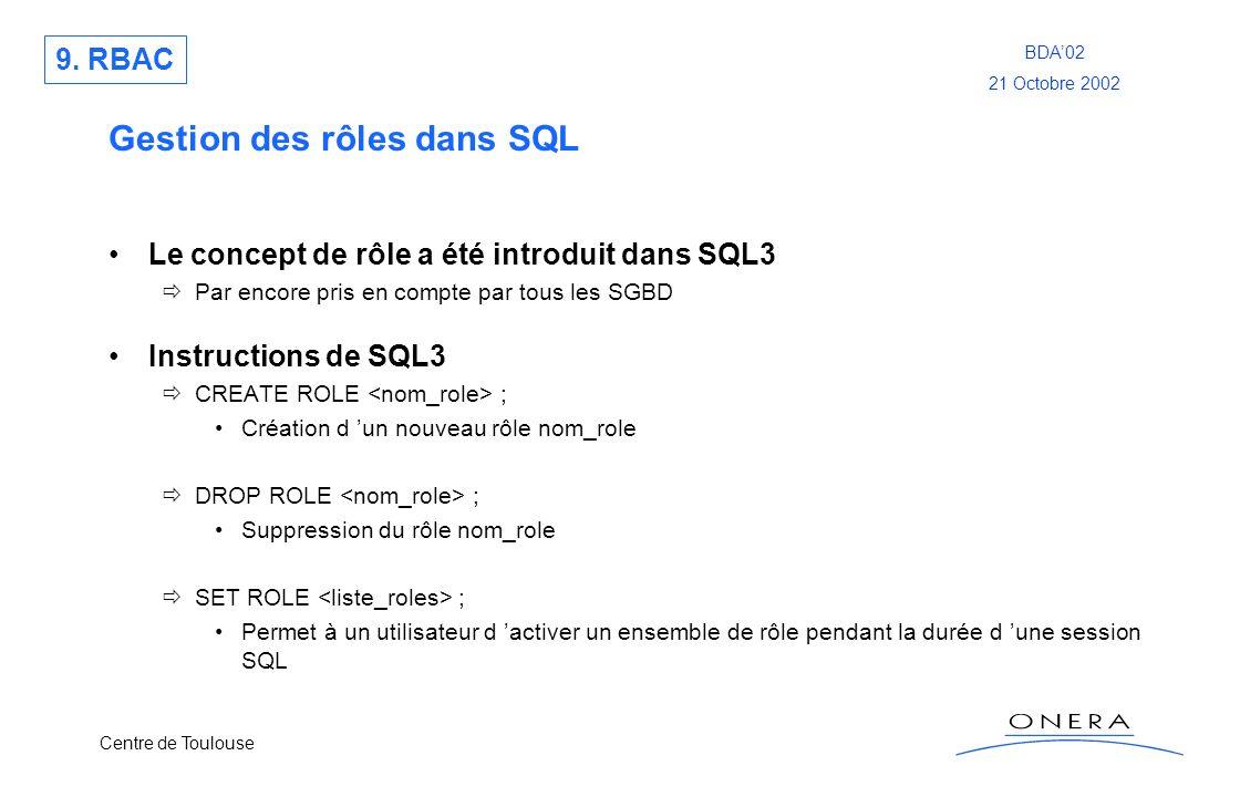 Centre de Toulouse BDA02 21 Octobre 2002 Gestion des rôles dans SQL Le concept de rôle a été introduit dans SQL3 Par encore pris en compte par tous le