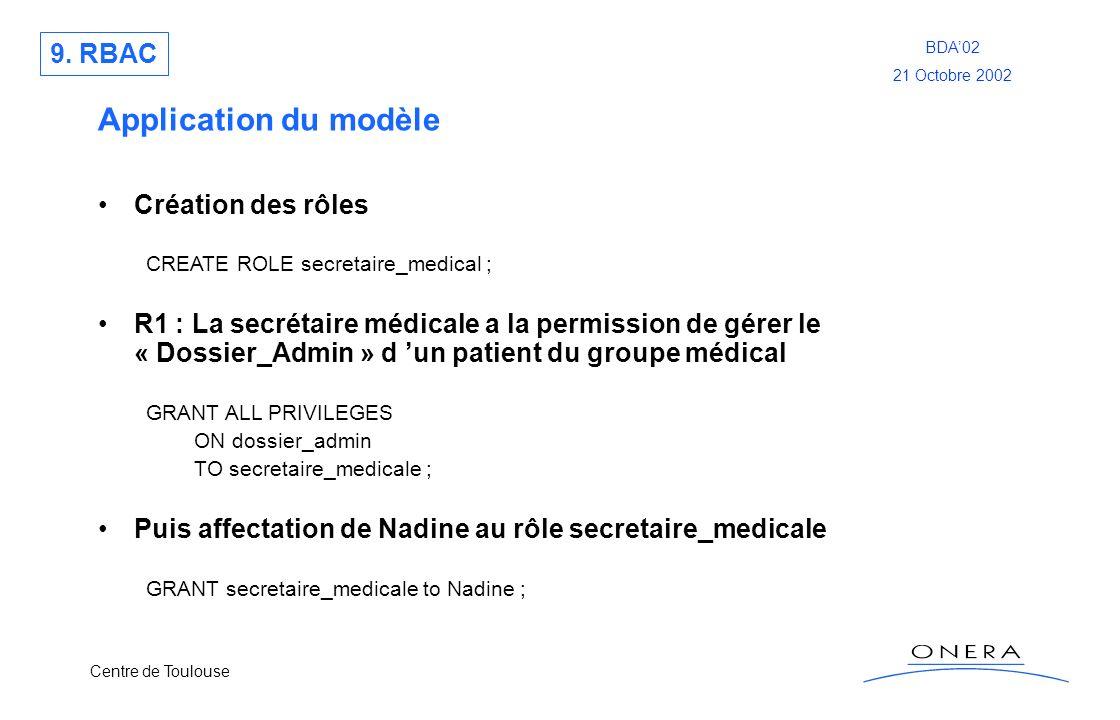 Centre de Toulouse BDA02 21 Octobre 2002 Application du modèle Création des rôles CREATE ROLE secretaire_medical ; R1 : La secrétaire médicale a la pe