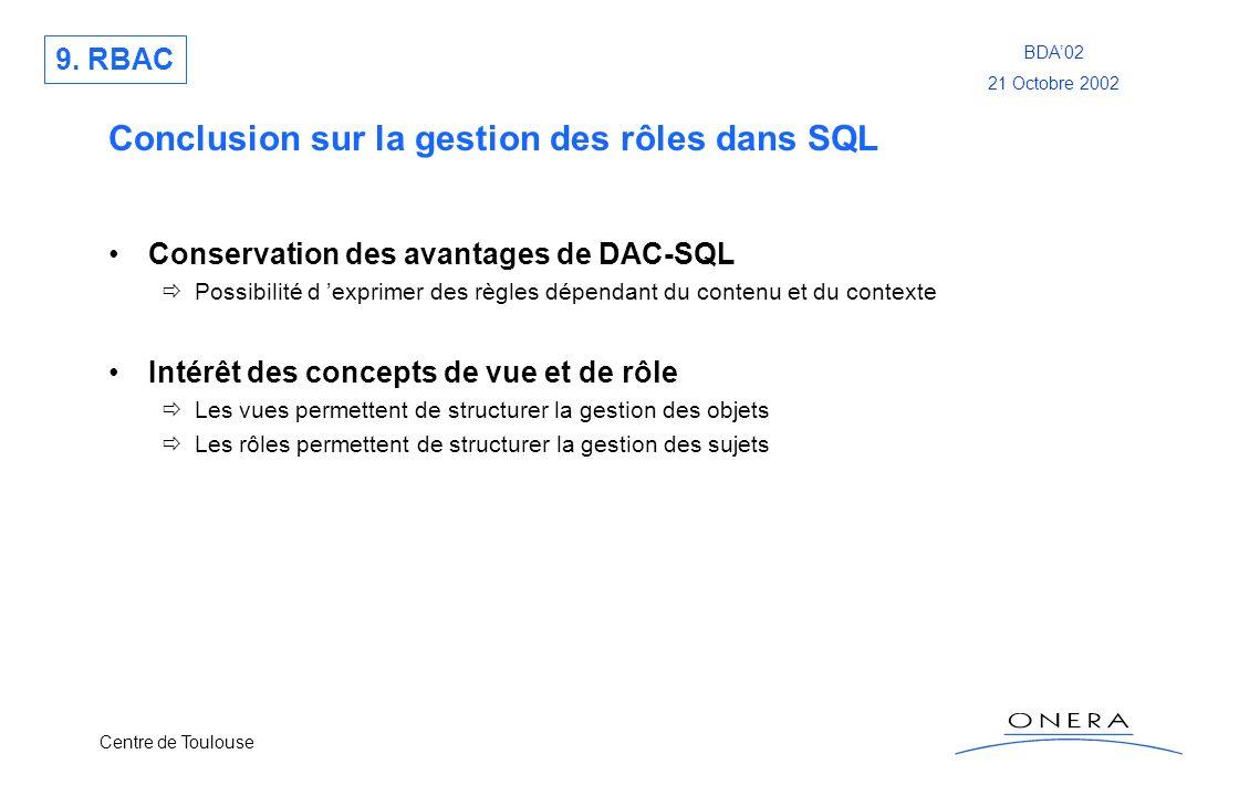 Centre de Toulouse BDA02 21 Octobre 2002 Conclusion sur la gestion des rôles dans SQL Conservation des avantages de DAC-SQL Possibilité d exprimer des