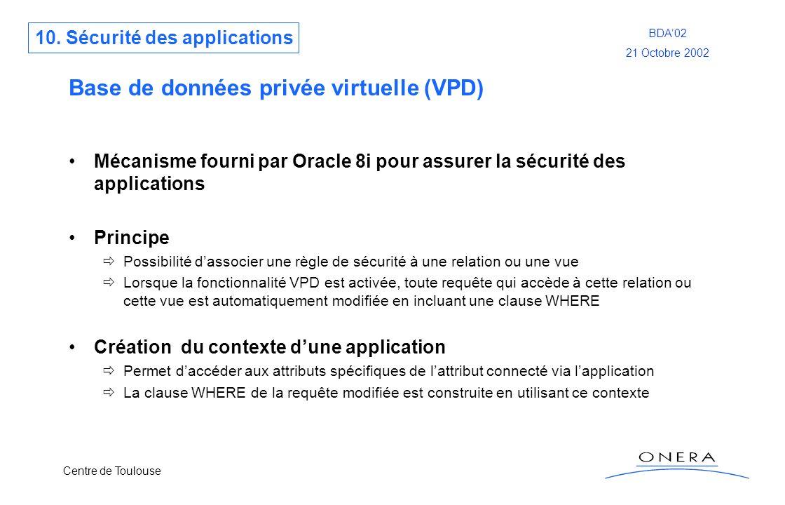 Centre de Toulouse BDA02 21 Octobre 2002 Base de données privée virtuelle (VPD) Mécanisme fourni par Oracle 8i pour assurer la sécurité des applicatio