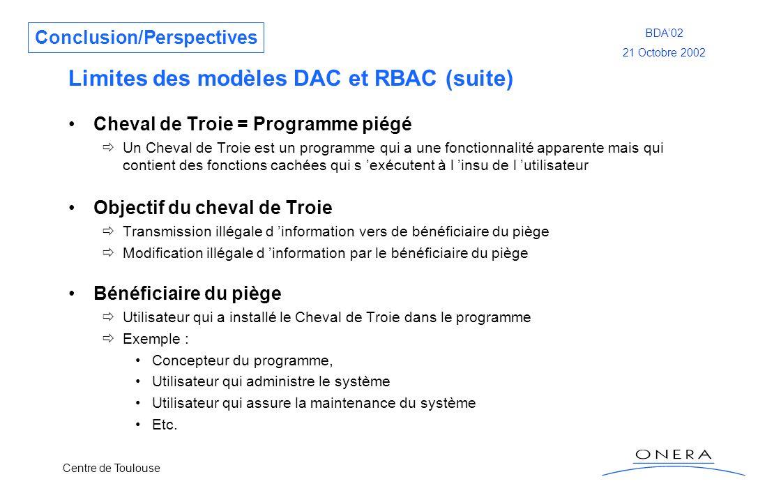 Centre de Toulouse BDA02 21 Octobre 2002 Limites des modèles DAC et RBAC (suite) Cheval de Troie = Programme piégé Un Cheval de Troie est un programme