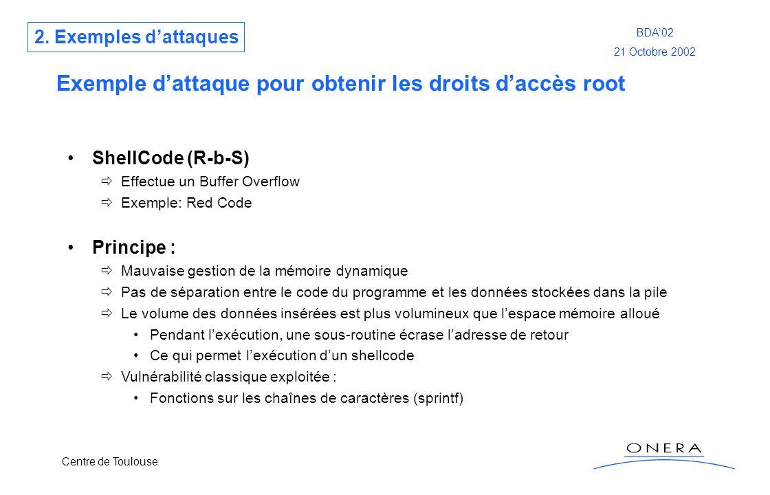 Centre de Toulouse BDA02 21 Octobre 2002 Exemple dattaque pour obtenir les droits daccès root ShellCode (R-b-S) Effectue un Buffer Overflow Exemple: R