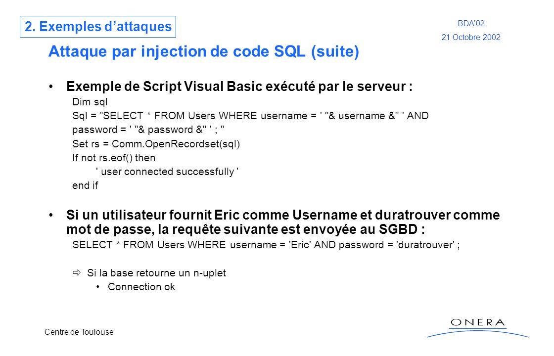 Centre de Toulouse BDA02 21 Octobre 2002 Attaque par injection de code SQL (suite) Exemple de Script Visual Basic exécuté par le serveur : Dim sql Sql