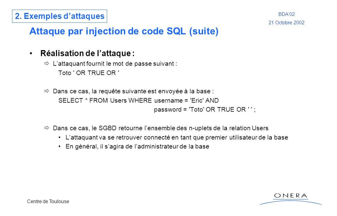 Centre de Toulouse BDA02 21 Octobre 2002 Attaque par injection de code SQL (suite) Réalisation de lattaque : Lattaquant fournit le mot de passe suivan
