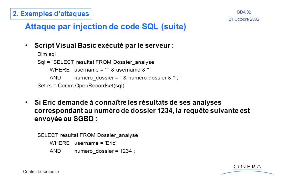 Centre de Toulouse BDA02 21 Octobre 2002 Attaque par injection de code SQL (suite) Script Visual Basic exécuté par le serveur : Dim sql Sql =