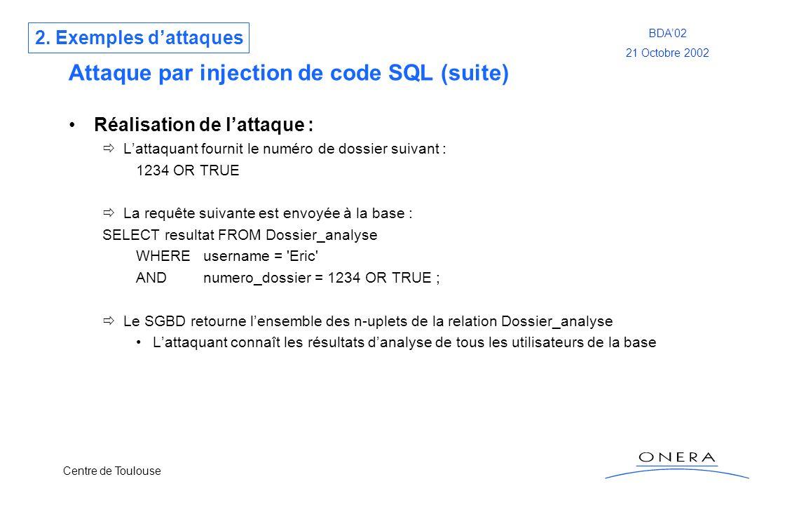 Centre de Toulouse BDA02 21 Octobre 2002 Attaque par injection de code SQL (suite) Réalisation de lattaque : Lattaquant fournit le numéro de dossier s