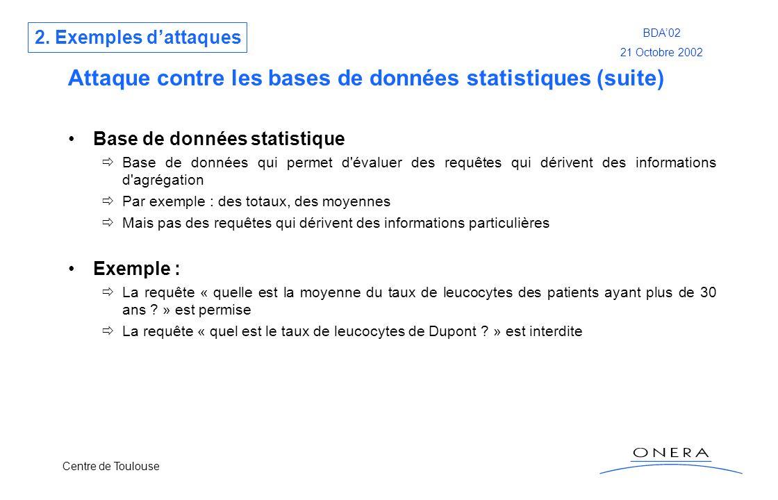 Centre de Toulouse BDA02 21 Octobre 2002 Attaque contre les bases de données statistiques (suite) Base de données statistique Base de données qui perm