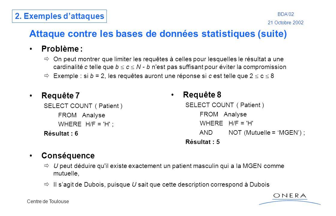 Centre de Toulouse BDA02 21 Octobre 2002 Attaque contre les bases de données statistiques (suite) Problème : On peut montrer que limiter les requêtes