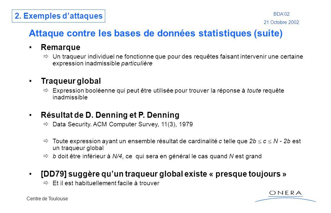 Centre de Toulouse BDA02 21 Octobre 2002 Attaque contre les bases de données statistiques (suite) Remarque Un traqueur individuel ne fonctionne que po