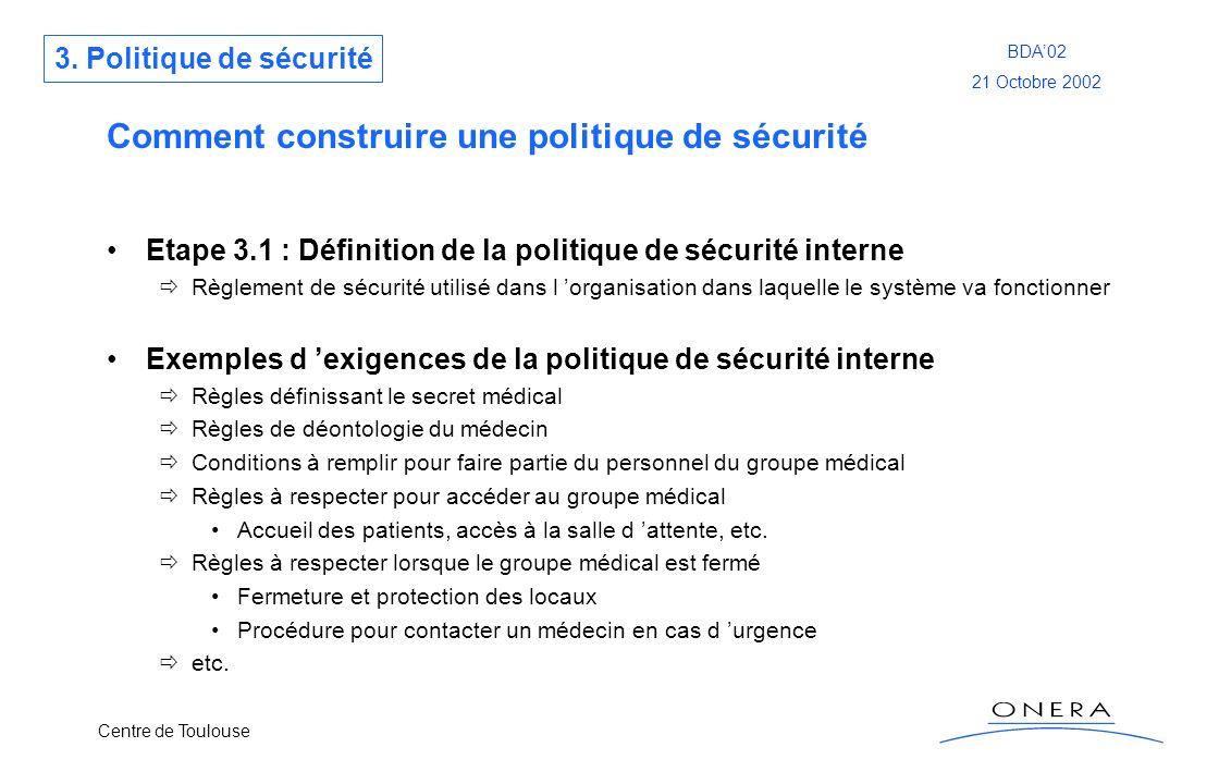 Centre de Toulouse BDA02 21 Octobre 2002 Comment construire une politique de sécurité Etape 3.1 : Définition de la politique de sécurité interne Règle