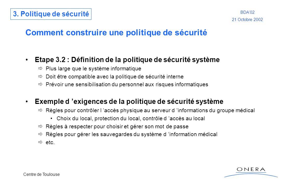 Centre de Toulouse BDA02 21 Octobre 2002 Comment construire une politique de sécurité Etape 3.2 : Définition de la politique de sécurité système Plus