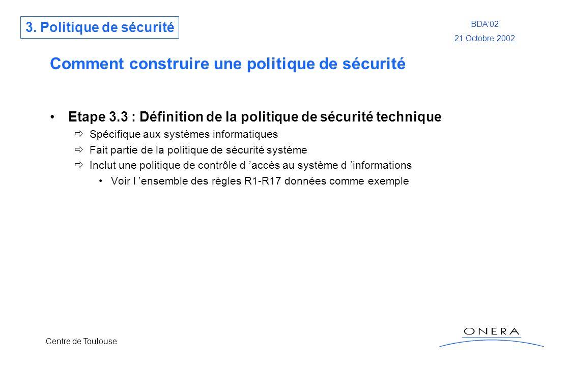 Centre de Toulouse BDA02 21 Octobre 2002 Comment construire une politique de sécurité Etape 3.3 : Définition de la politique de sécurité technique Spé
