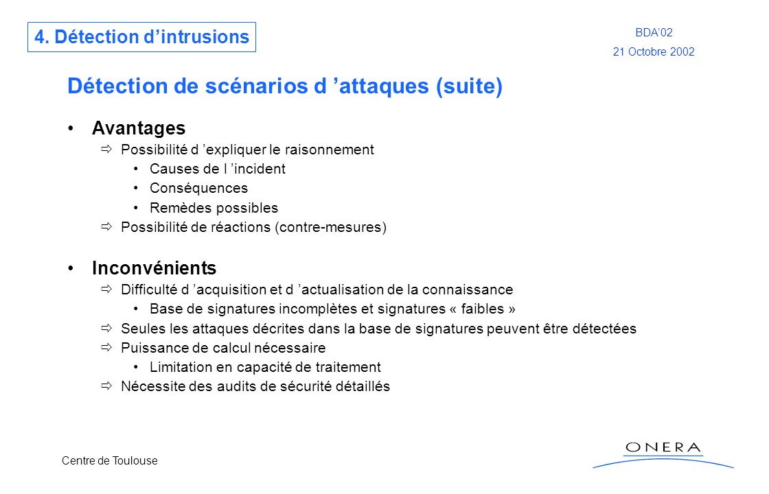 Centre de Toulouse BDA02 21 Octobre 2002 Détection de scénarios d attaques (suite) Avantages Possibilité d expliquer le raisonnement Causes de l incid