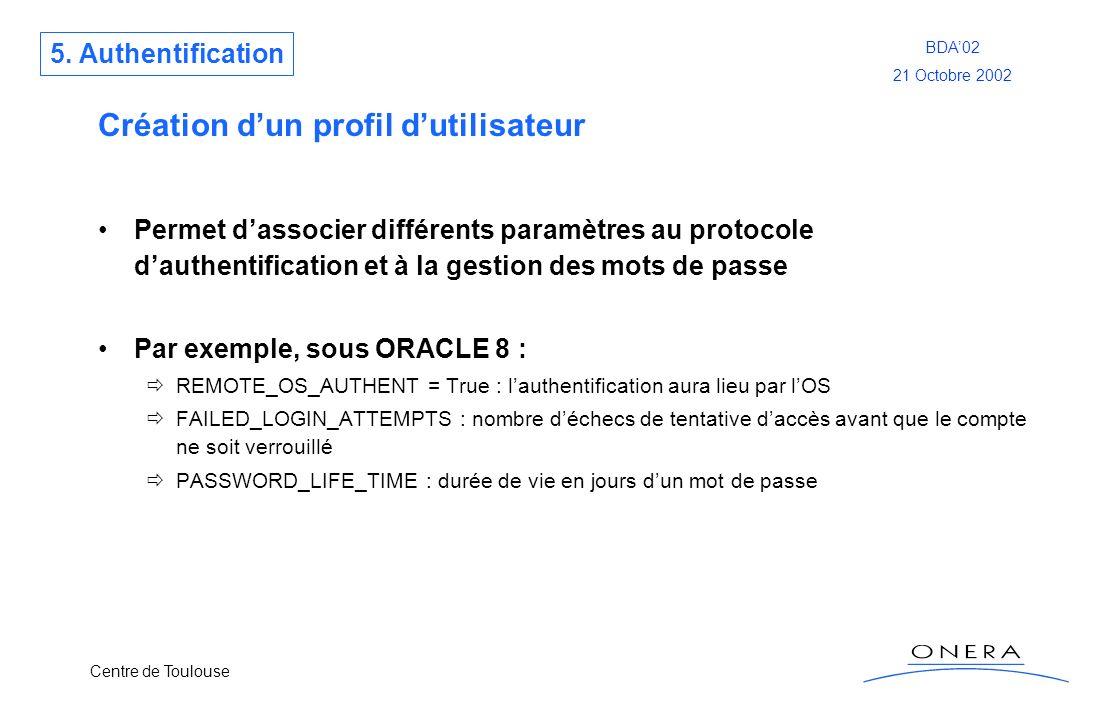 Centre de Toulouse BDA02 21 Octobre 2002 Création dun profil dutilisateur Permet dassocier différents paramètres au protocole dauthentification et à l
