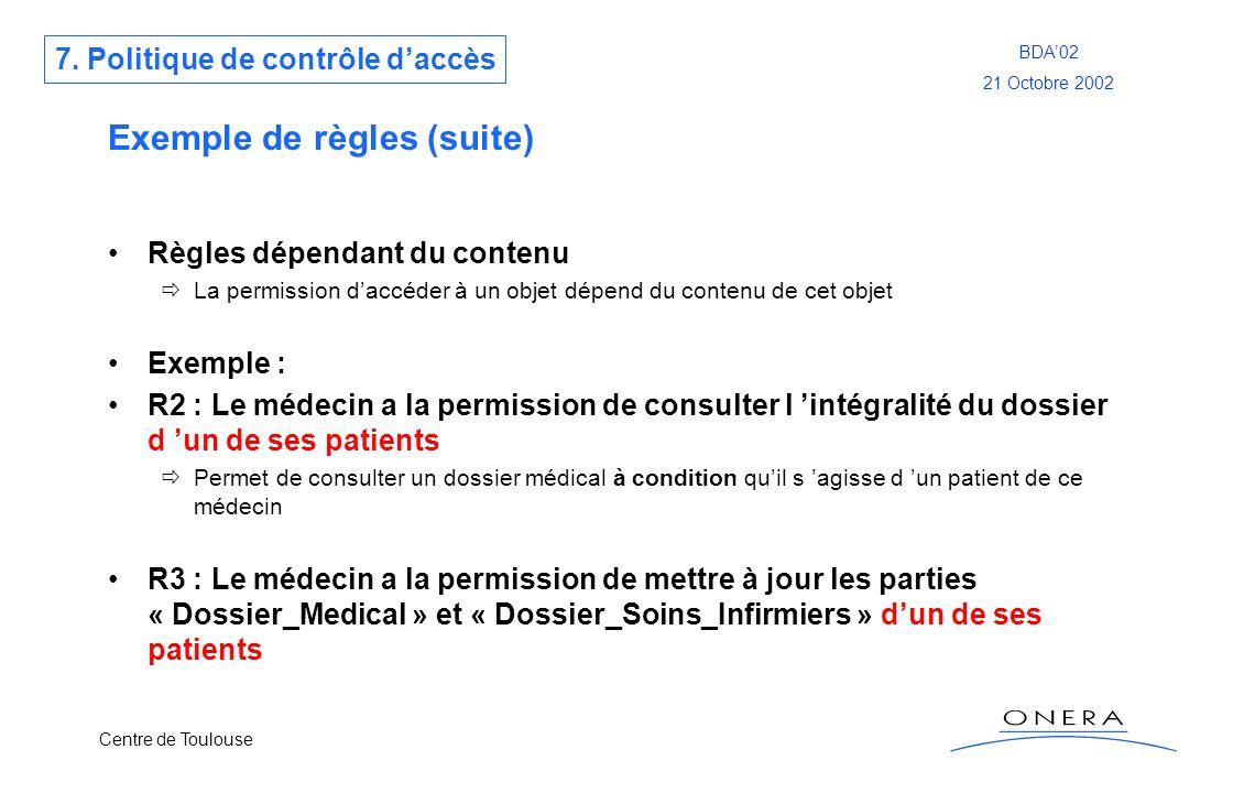 Centre de Toulouse BDA02 21 Octobre 2002 Exemple de règles (suite) Règles dépendant du contenu La permission daccéder à un objet dépend du contenu de