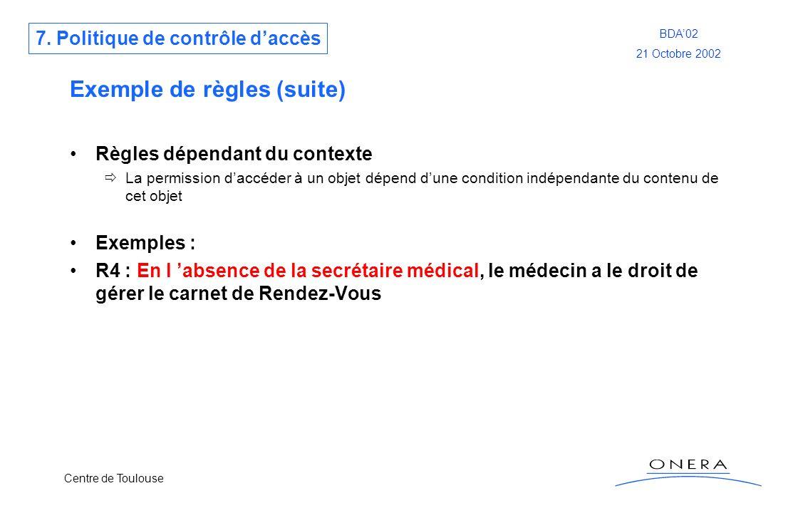 Centre de Toulouse BDA02 21 Octobre 2002 Exemple de règles (suite) Règles dépendant du contexte La permission daccéder à un objet dépend dune conditio