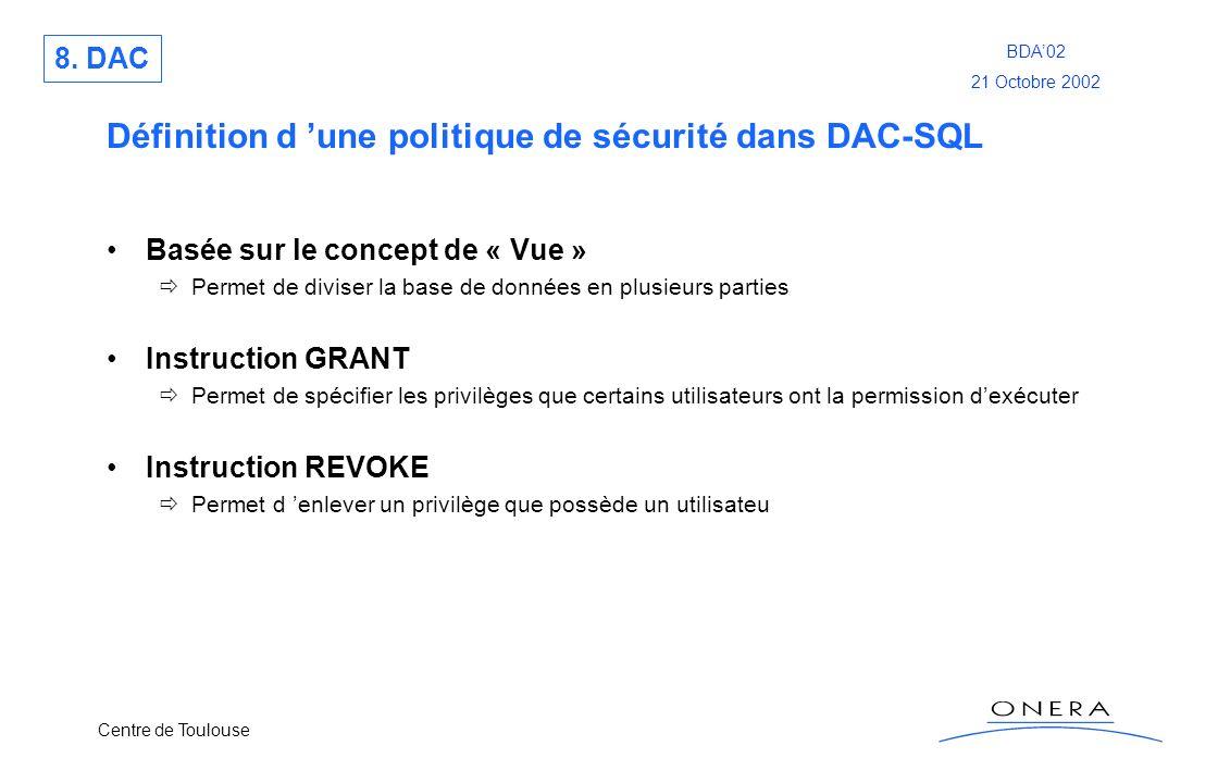 Centre de Toulouse BDA02 21 Octobre 2002 Définition d une politique de sécurité dans DAC-SQL Basée sur le concept de « Vue » Permet de diviser la base
