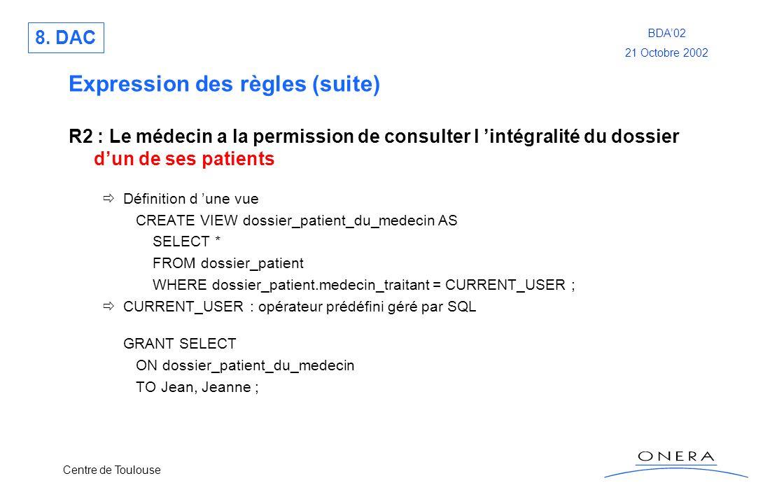 Centre de Toulouse BDA02 21 Octobre 2002 Expression des règles (suite) R2 : Le médecin a la permission de consulter l intégralité du dossier dun de se