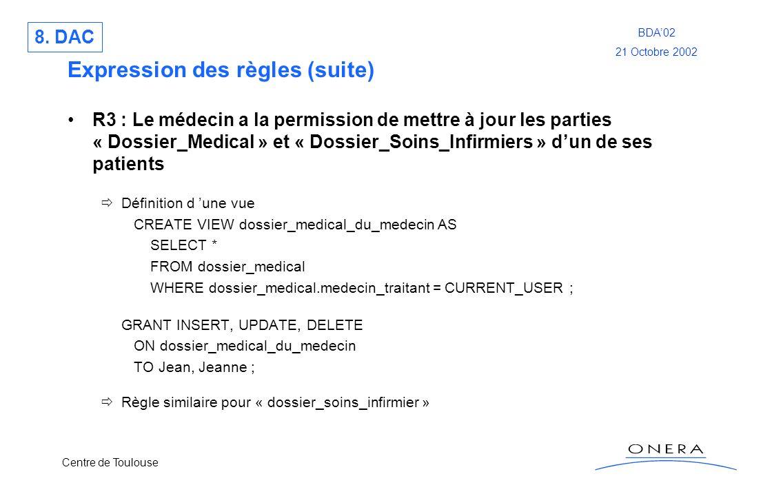 Centre de Toulouse BDA02 21 Octobre 2002 Expression des règles (suite) R3 : Le médecin a la permission de mettre à jour les parties « Dossier_Medical
