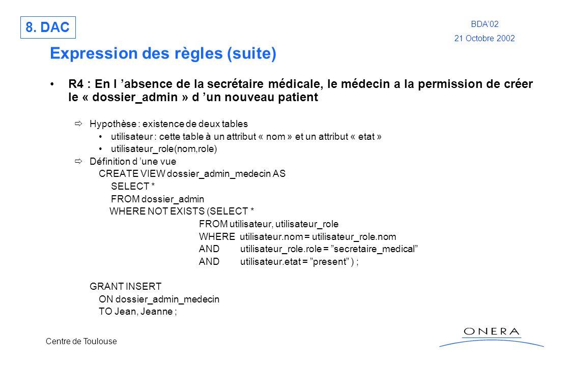 Centre de Toulouse BDA02 21 Octobre 2002 Expression des règles (suite) R4 : En l absence de la secrétaire médicale, le médecin a la permission de crée