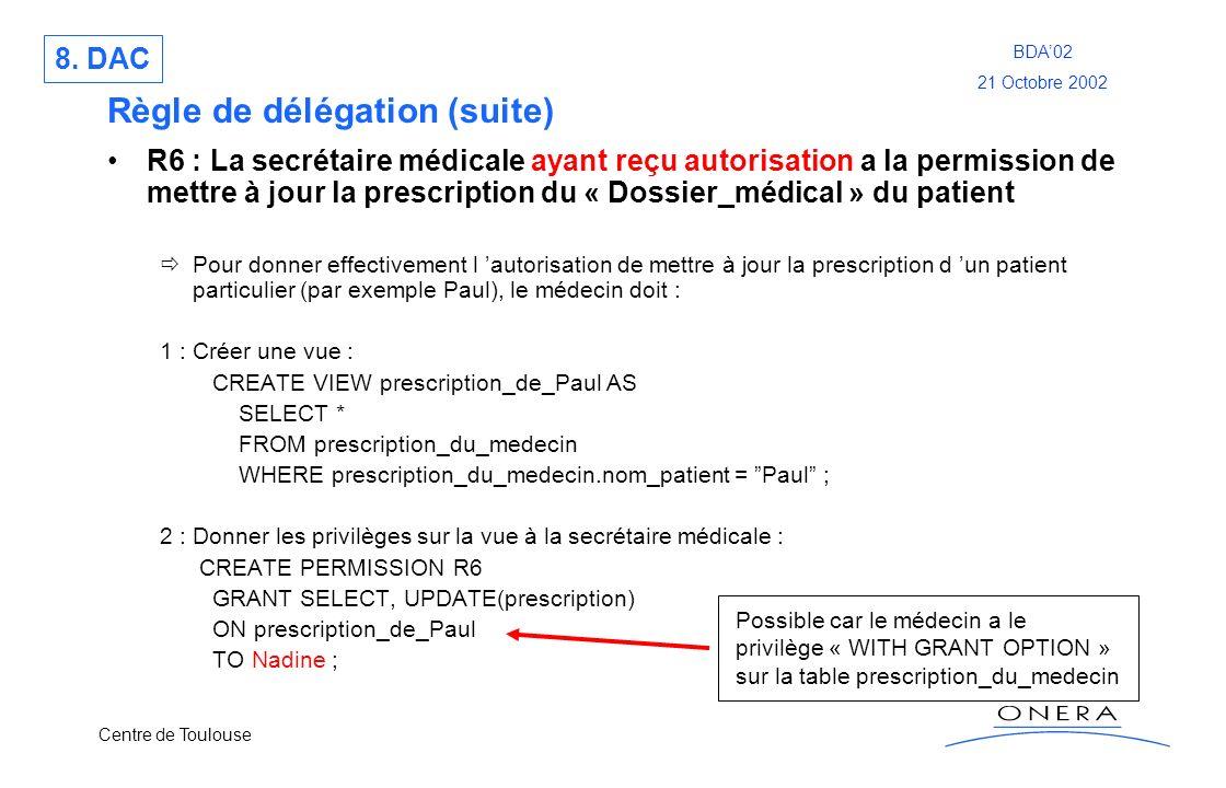 Centre de Toulouse BDA02 21 Octobre 2002 Règle de délégation (suite) R6 : La secrétaire médicale ayant reçu autorisation a la permission de mettre à j